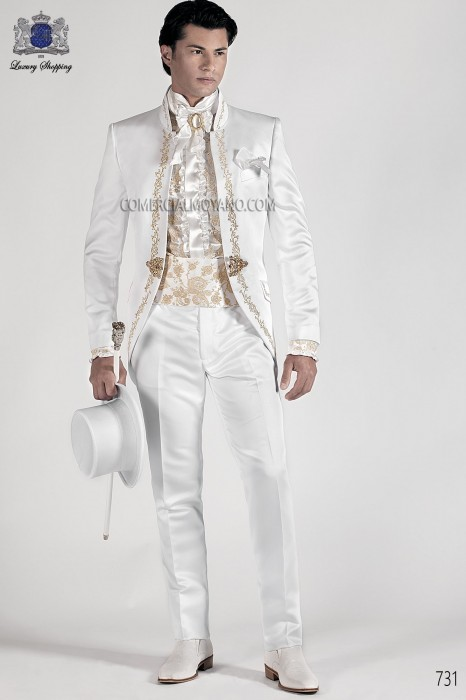 Italian white baroque wedding suit