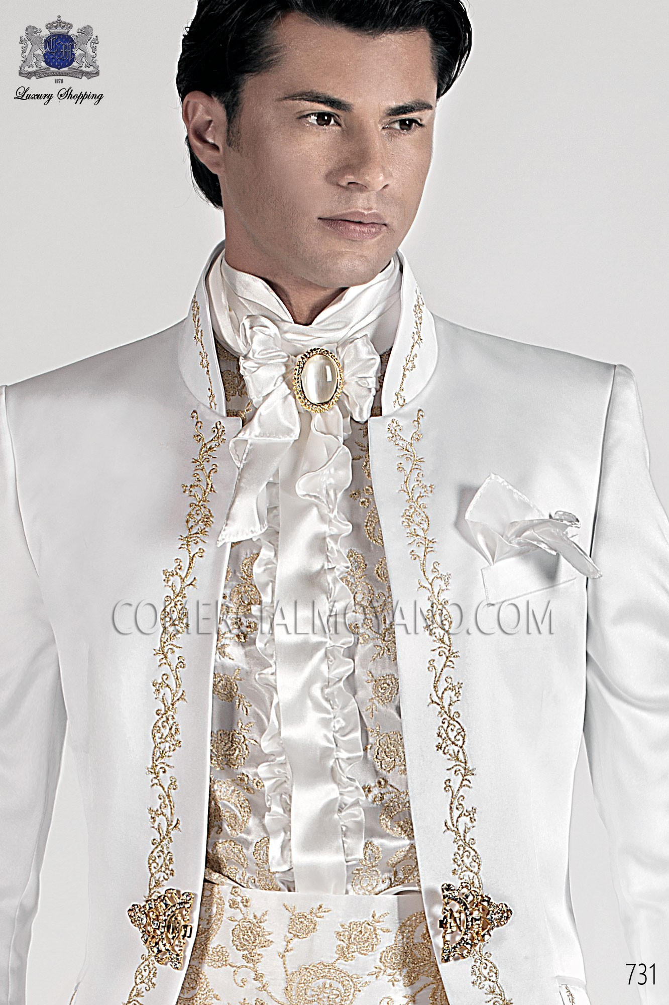 Italian Baroque White Men Wedding Suit Model 731 Ottavio Nuccio Gala Collection
