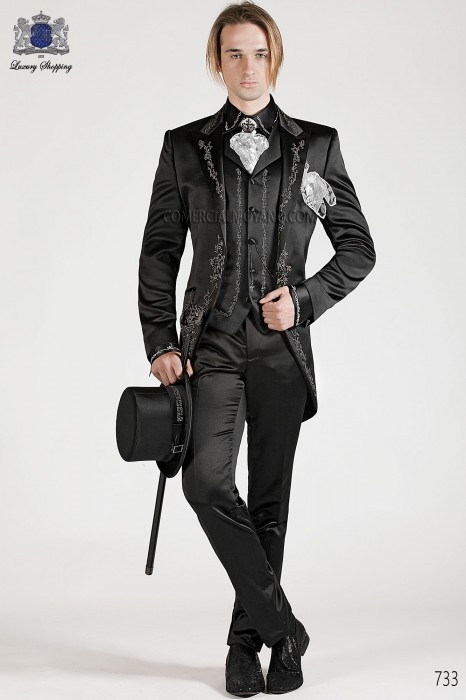 Italian black baroque wedding suit