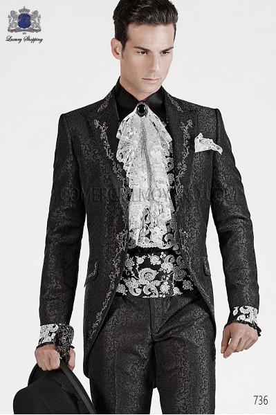 Italian black baroque wedding suit