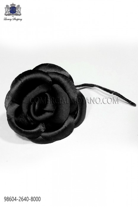 Black satin flower 98604-2640-8000 Ottavio Nuccio Gala.