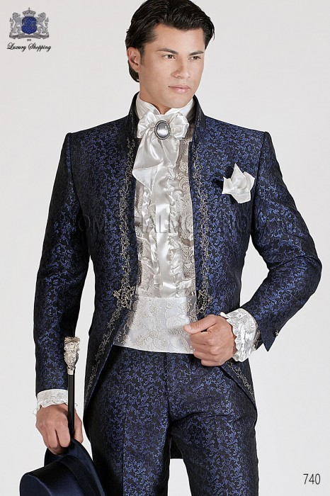 italian blue baroque wedding suit - Costume Col Mao Mariage
