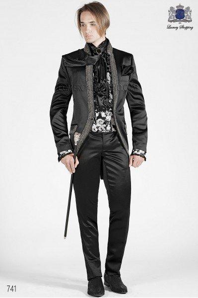 Baroque Italian black wedding suit