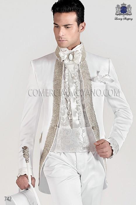 Italian bespoke white wedding suit style 742 Ottavio Nuccio Gala.
