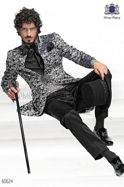Baroque Italian black/silver wedding suit
