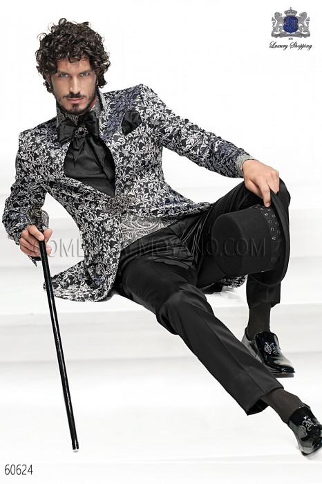 Baroque Italian black/silver wedding suit