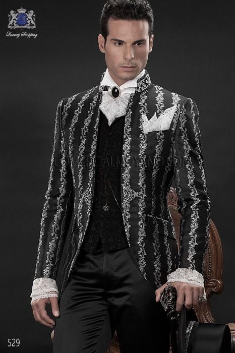 Baroque Italian silver/black wedding suit