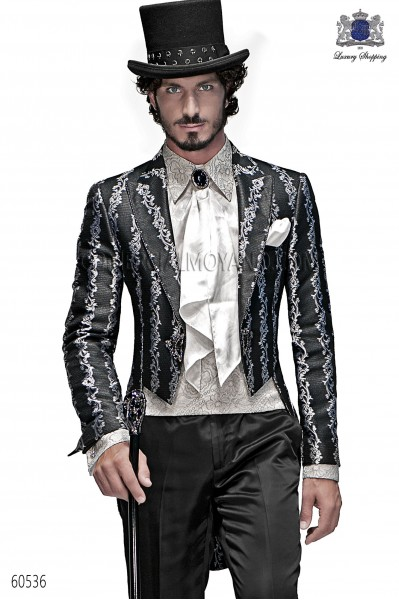 Italian black-silver wedding suit