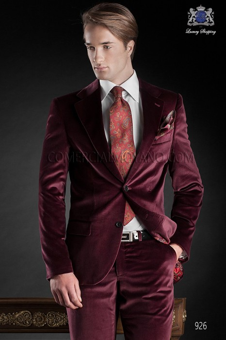 Italian red velvet wedding tuxedo