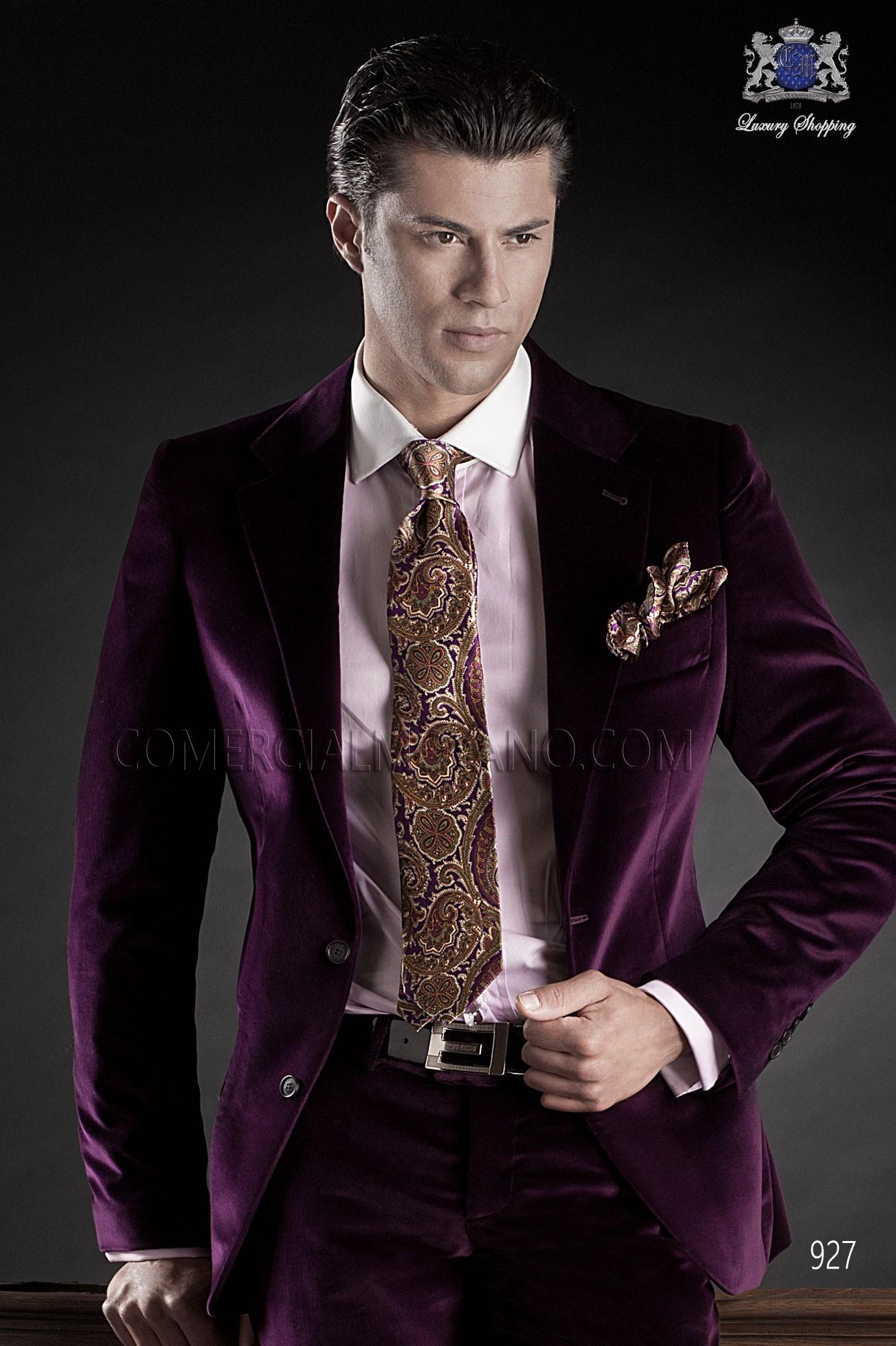 Black Tie Purple Men Wedding Suit Model 927 Ottavio Nuccio Gala