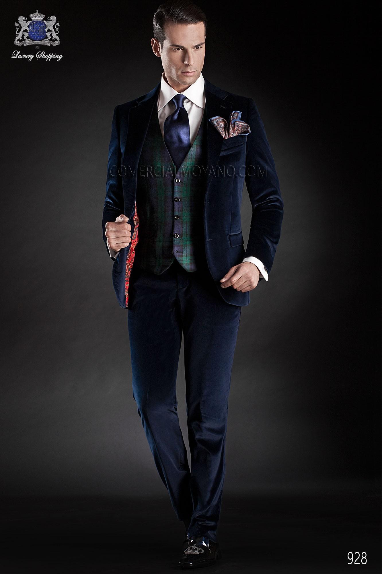 Black Tie blue men wedding suit model 928 Ottavio Nuccio Gala