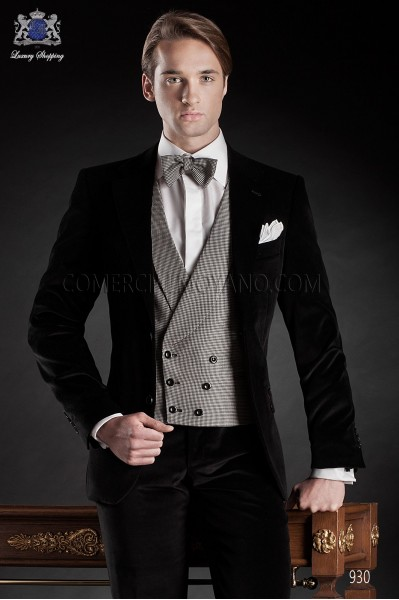 Italian black velvet wedding tuxedo