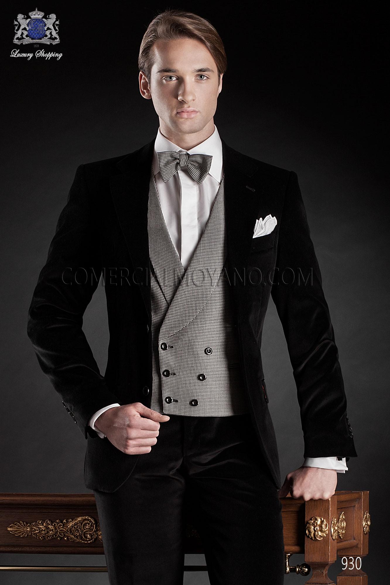Italian Black Velvet Wedding Tuxedo Loading Zoom