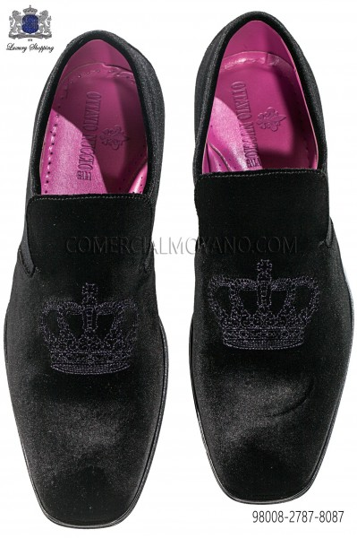 Black velvet shoes purple crown embroidery 98008-2787-8087 Ottavio Nuccio Gala.