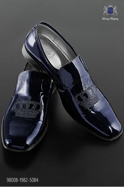 Blue patent leather slipper shoes with embroidery 98008-1982-5084 Ottavio Nuccio Gala.