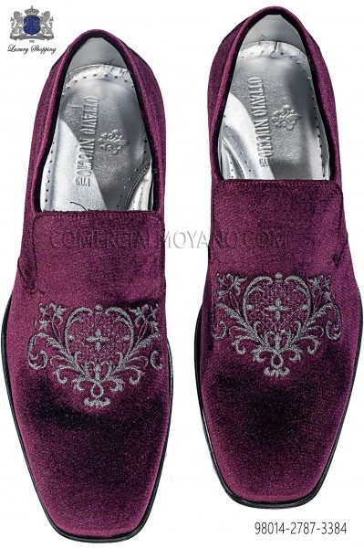 Purple velvet slippers with silver embroidery 98014-2787-3384 Ottavio Nuccio Gala.