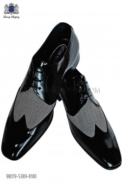 Zapatos negros cordones combinado diseño gales gris 98019-5389-8180 Ottavio Nuccio Gala.