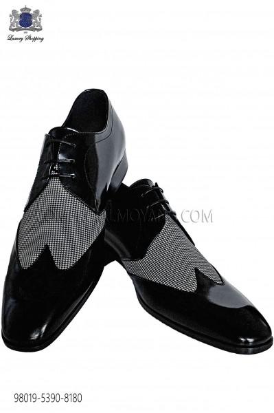 Bicolor houndstooth black leather laced shoes 98019-5390-8180 Ottavio Nuccio Gala.