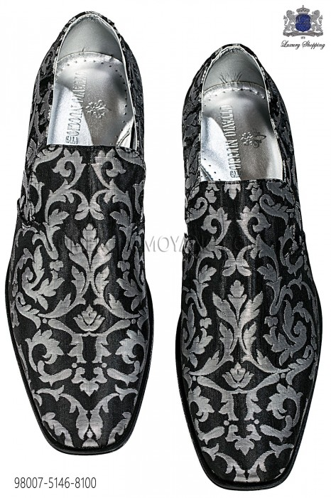 Silver and black jacquard slipper shoes 98007-5146-8100 Ottavio Nuccio Gala.