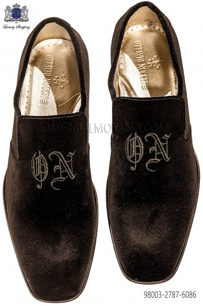 Brown velvet slipper with embroidery 98003-2787-6086 Ottavio Nuccio Gala.