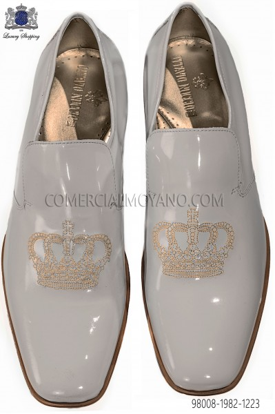 Ivory patent leather slippers with embroidery 98008-1982-1223 Ottavio Nuccio Gala.