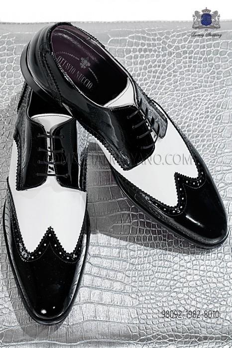 "Black and white patent leather ""Golf"" shoes 98092-1982-8010 Ottavio Nuccio Gala."
