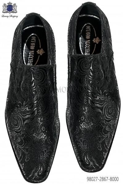 Black brocade men shoes