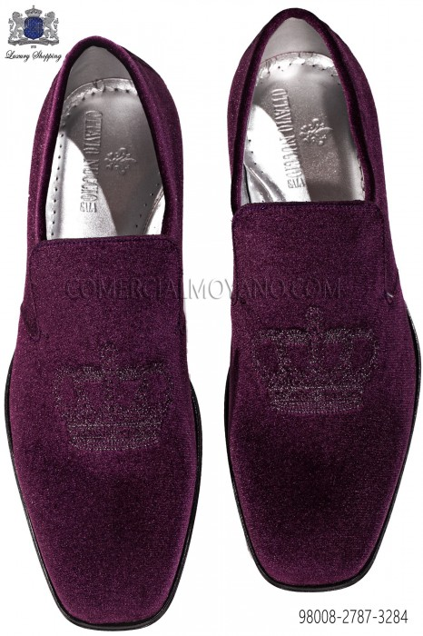 Purple velvet slippers with silver embroidery 98008-2787-3284 Ottavio Nuccio Gala.