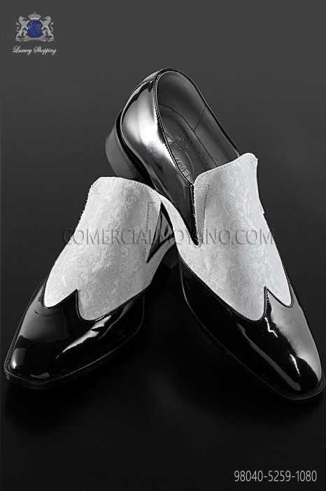 Black baroque shoes with white brocade fabric 98040-5259-1080 Ottavio Nuccio Gala.