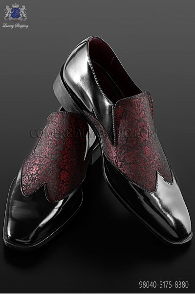 Baroque red and black brocade shoes 98040-5175-8380 Ottavio Nuccio Gala.
