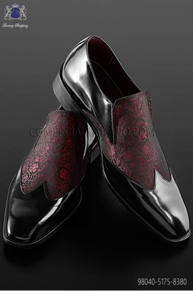 Baroque red and black brocade shoes 98040-5175-8380 Ottavio Nuccio Gala.