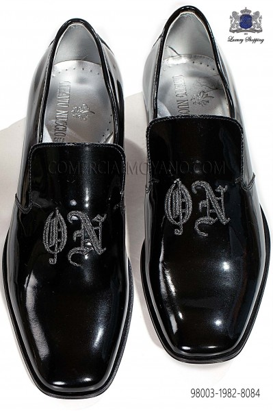 Black patent leather slippers shoes with embroidery 98003-1982-8084 Ottavio Nuccio Gala.