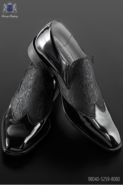 Black baroque shoes with gray brocade fabric 98040-5259-8080 Ottavio Nuccio Gala.