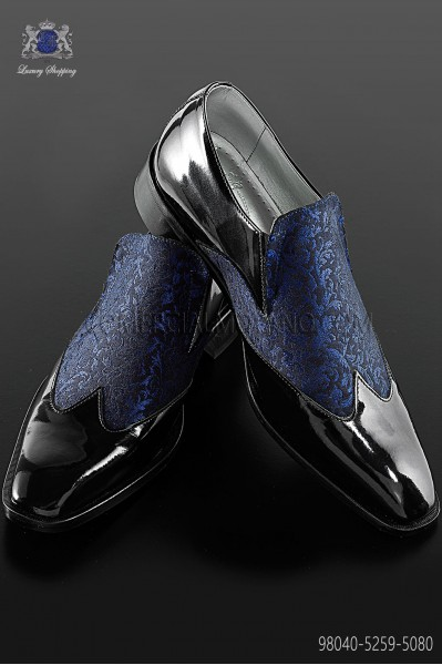 Black with blue brocade Baroque shoes 98040-5259-5080 Ottavio Nuccio Gala.