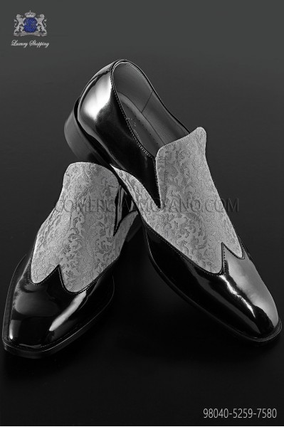 Black baroque shoes with light gray brocade fabric 98040-5259-7580 Ottavio Nuccio Gala.