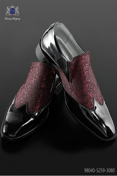 Black baroque shoes with red brocade fabric 98040-5259-3080 Ottavio Nuccio Gala.