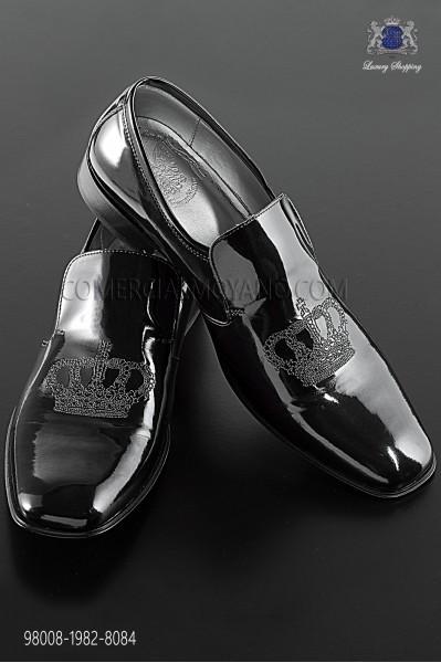 Black patent leather slippers with silver crown embroidery 98008-1982-8084 Ottavio Nuccio Gala.