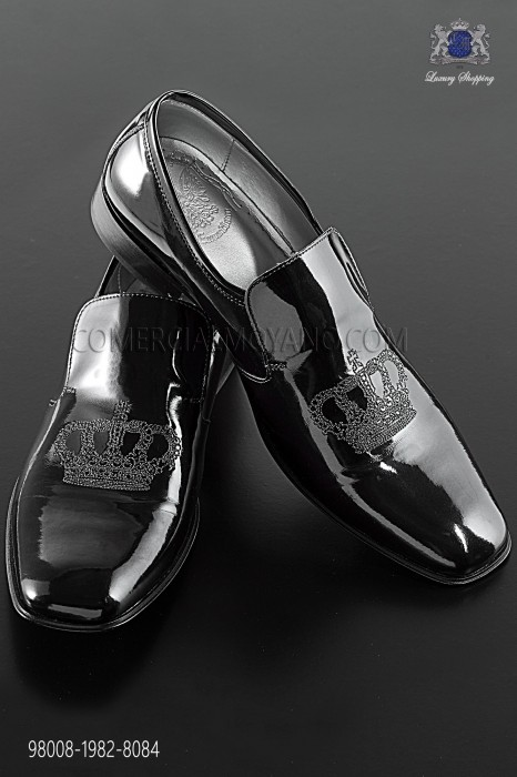 Black patent leather slippers with silver crown embroidery 98008-1982-8084 Ottavio Nuccio Gala.
