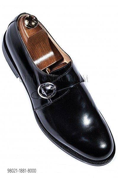 "Black leather ""Monks"" shoes 98021-1881-8000 Ottavio Nuccio Gala."