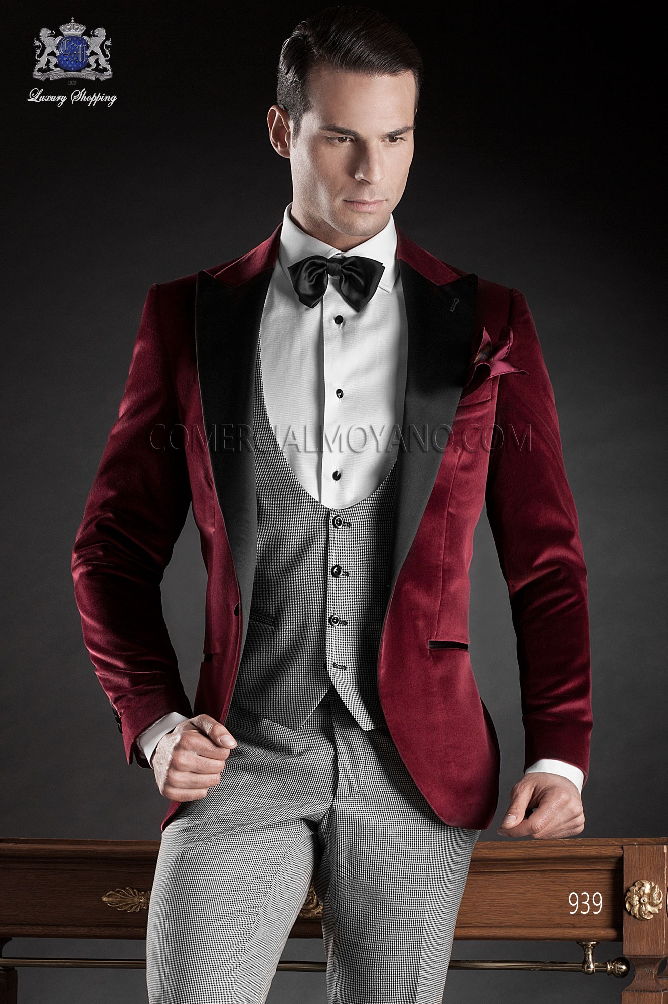 Italian Red Wedding Tuxedo Loading Zoom