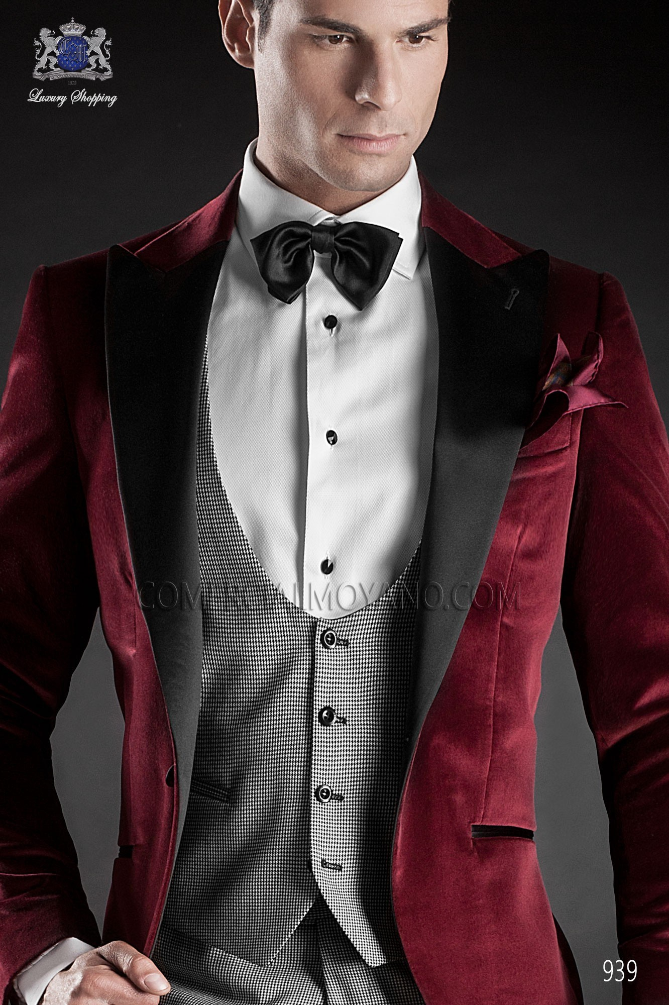 Italian Blacktie Red Men Wedding Suit Model 939 Ottavio Nuccio Gala Black Tie Collection