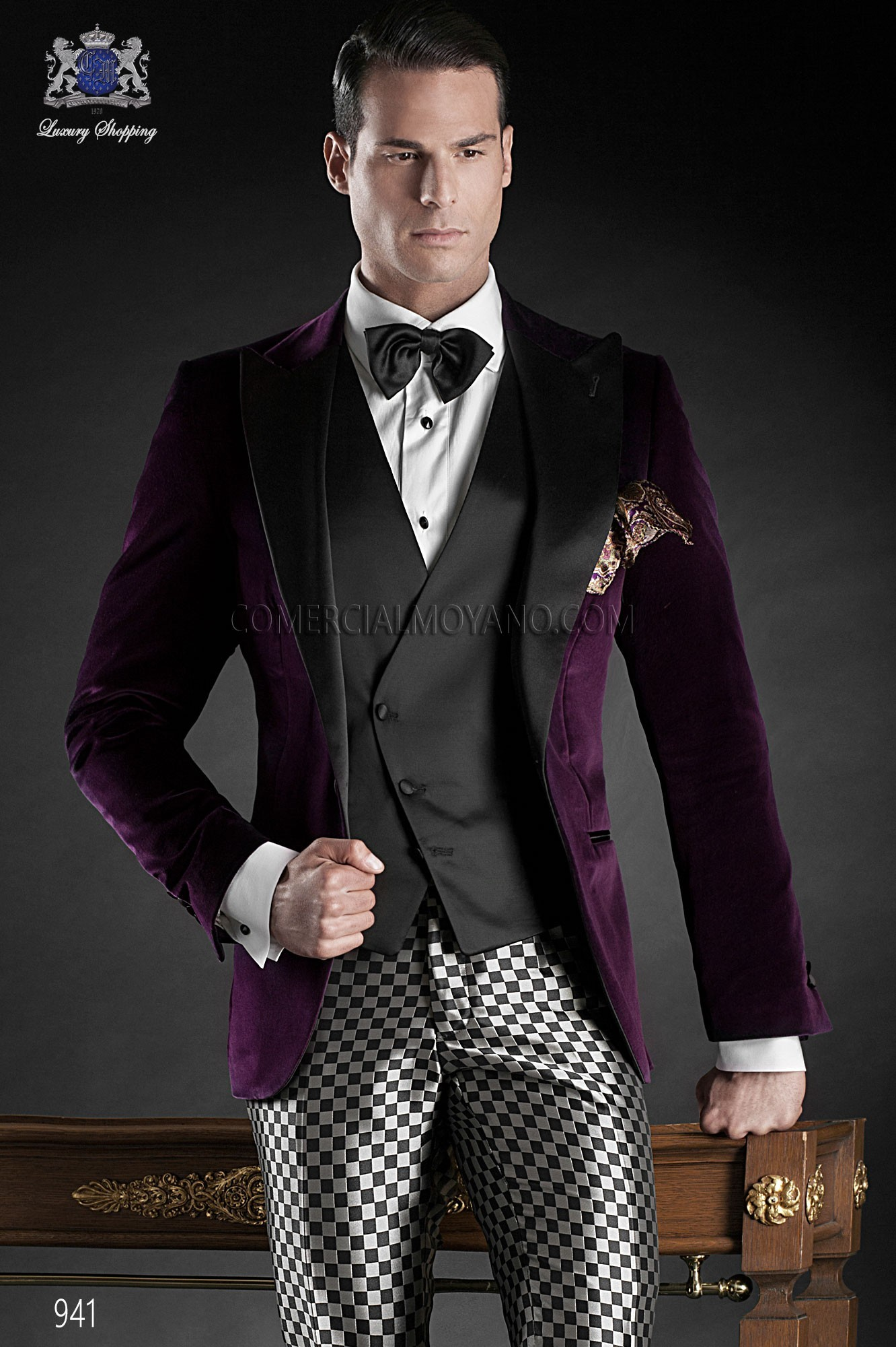 Black Tie purple men wedding suit model 941 Ottavio Nuccio Gala