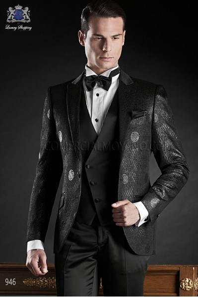 Italian blacktie black men wedding suit style 946 Ottavio Nuccio Gala