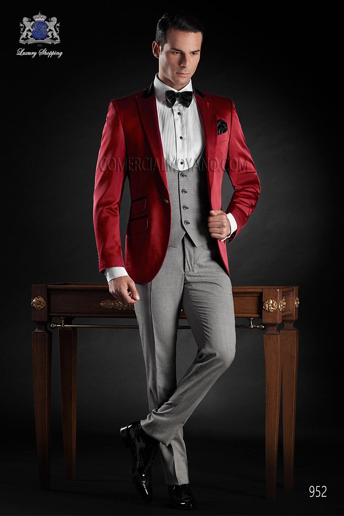 Italian bespoke red tuxedo suit style 952 Ottavio Nuccio Gala