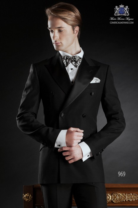 Italian bespoke suit, black double-breasted tuxedo in new performance fabric with black satin lapels and one button closure, style 969 Ottavio Nuccio Gala, 2015 Black Tie collection.