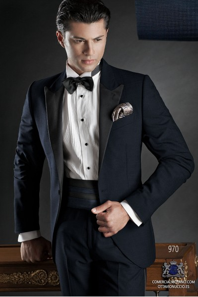 Italian blue tuxedo wedding suit