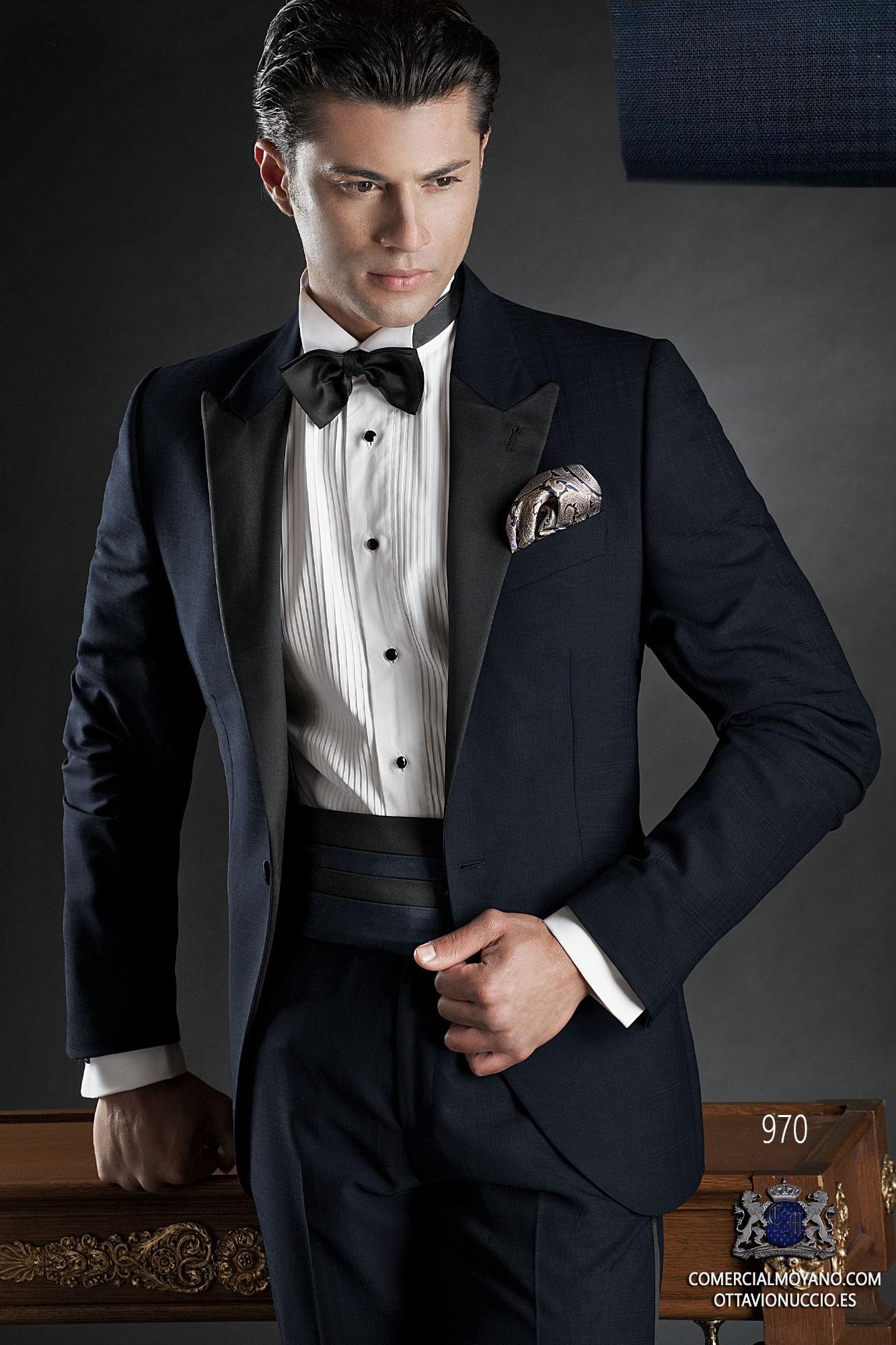 Black Tie blue men wedding suit model 970 Ottavio Nuccio Gala