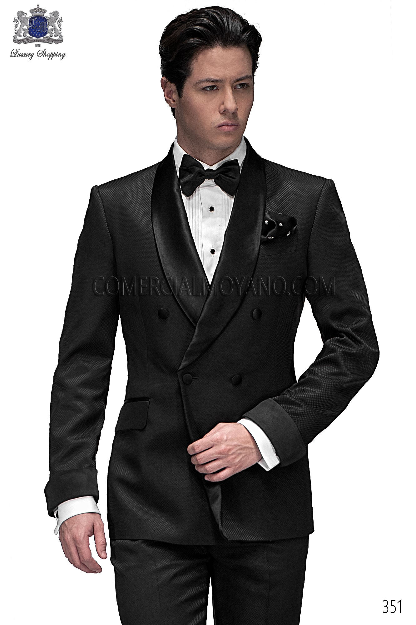 Italian bespoke suit, black wedding tuxedo style 351 Ottavio ...