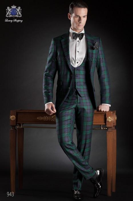 Blue tartan plaid suit