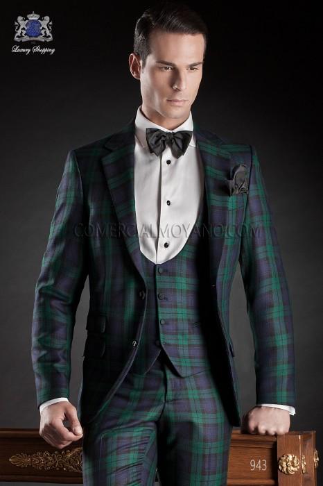 Blue tartan plaid suit, style 943 Ottavio Nuccio Gala.